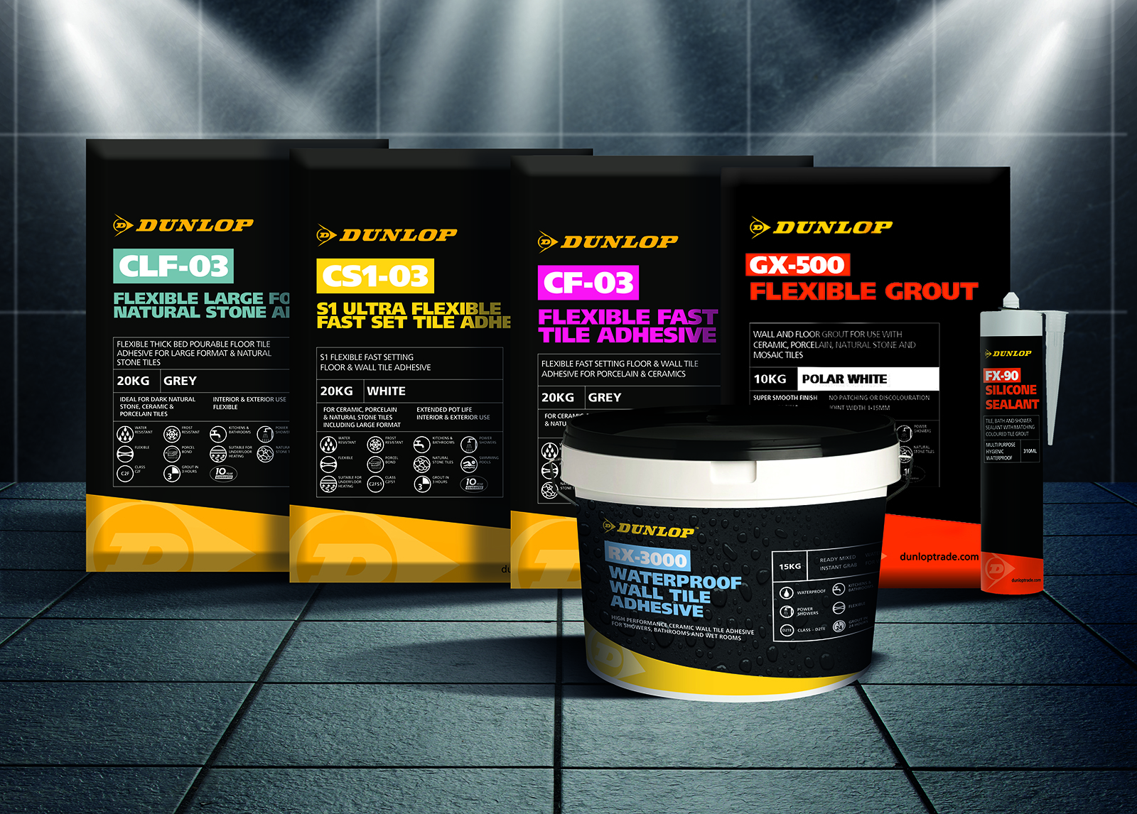 NEW powdered tile adhesive range by Dunlop