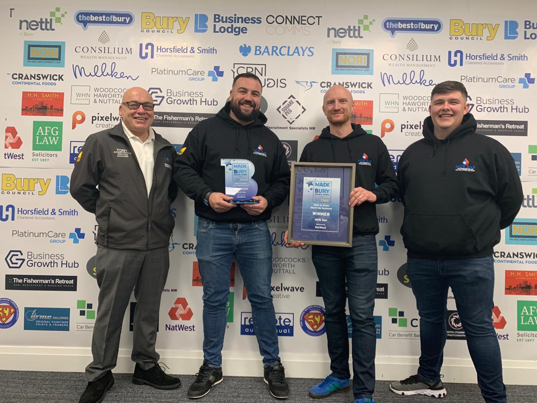 MCR Gas Awarded Best in Class Start-Up Business by Made in Bury 2020 Awards
