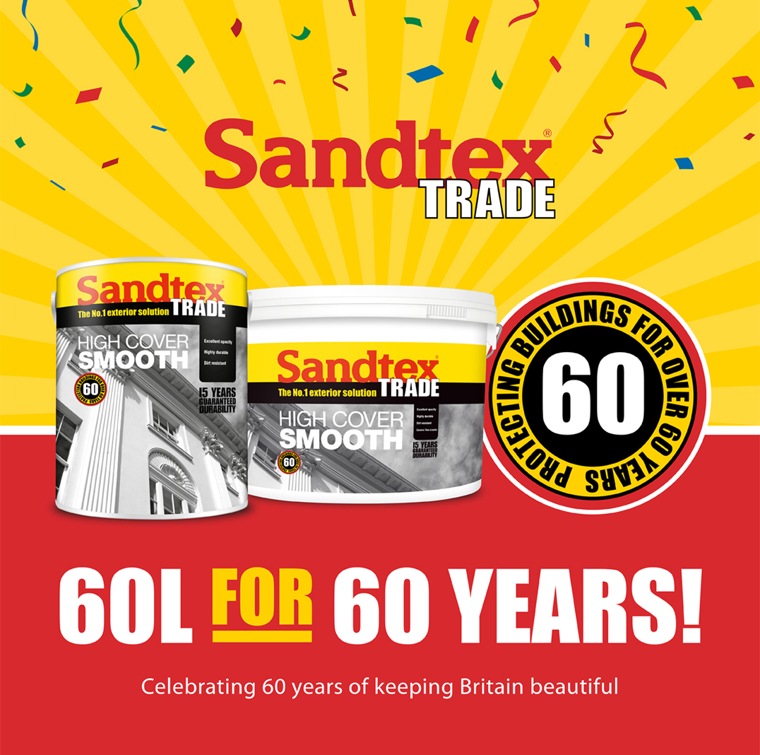 6 x 10 litres of Sandtex Trade paint to win